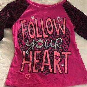 Justice Girls Pink Cheetah Shirt